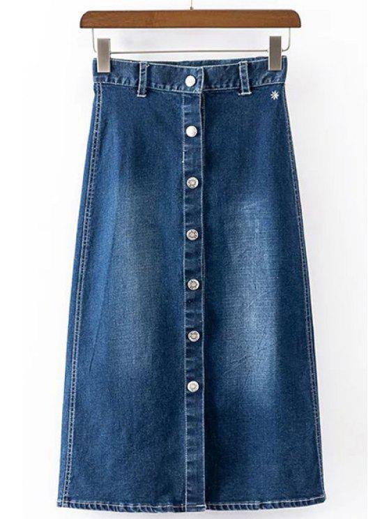 Breve abotoado uma saia de linha para as mulheres - Azul Escuro XL