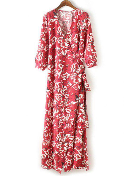 Floral Print V-Neck manches 3/4 Maxi Dress - Rouge L