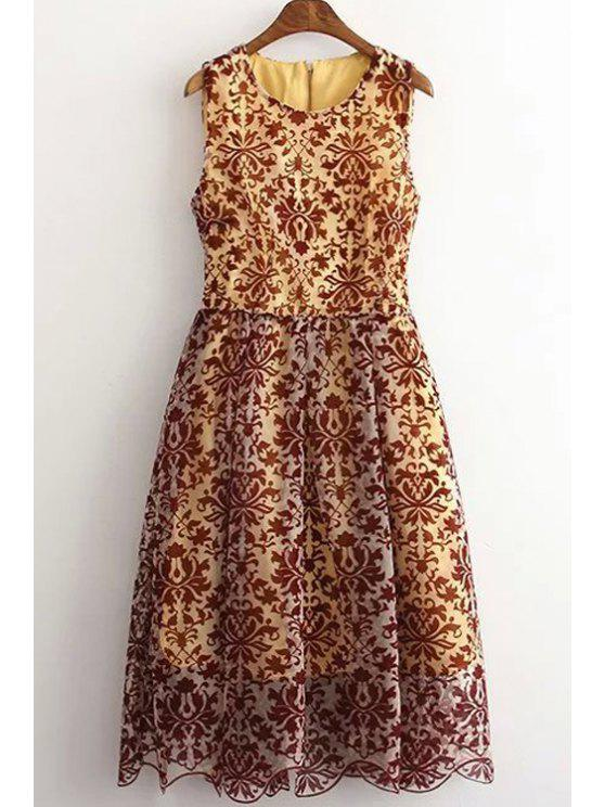 women Sleeveless Baroque Pattern Lace Dress - COLORMIX L