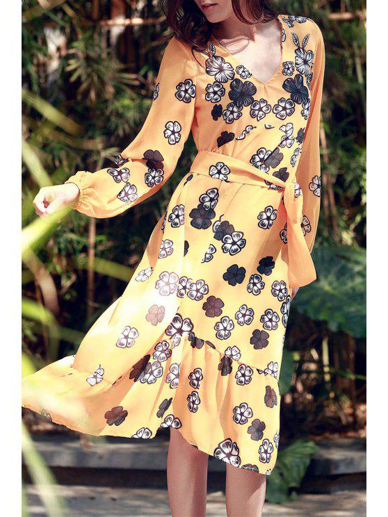 affordable Plunging Neck Floral Print Midi Dress - EARTHY M