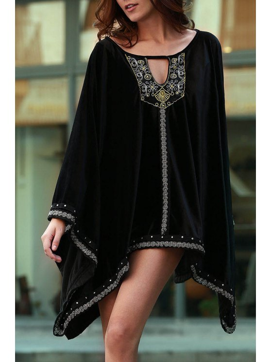 chic Embroidery Beaded Long Sleeve Dress - BLACK S
