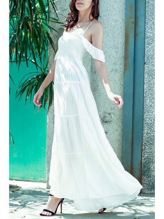 Blanc bretelles spaghetti Une ligne de robe Maxi - Blanc L