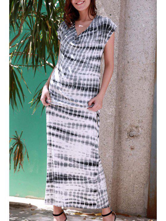 مخطط الخامس الرقبة قصيرة الأكمام فستان ماكسي - رمادي S