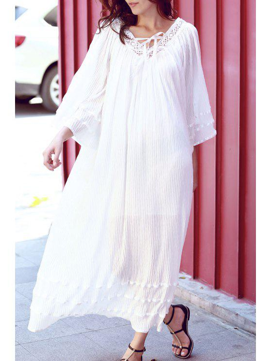 fancy V Neck Lace Panel Smocked Kimono Dress - WHITE M