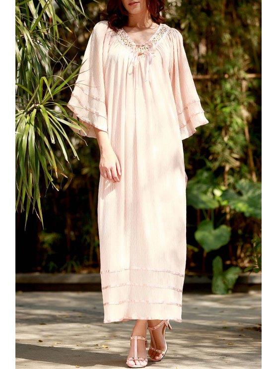 Vestido de Kimono de Bata con Panel de Encaje con Cuello en V - Luz del albaricoque  L