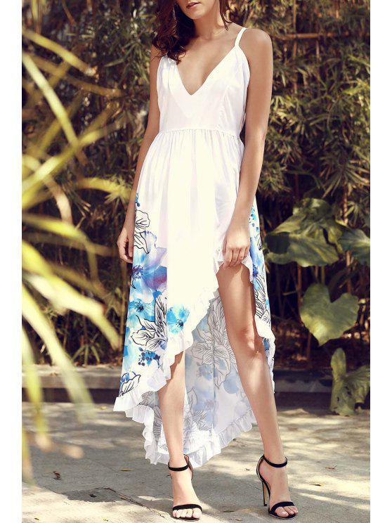 Spaghetti-Bügel-Farben-Block-Blumendruck Geschlitztes Kleid - Weiß XL