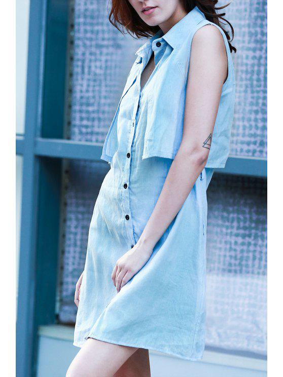 outfits Light Blue Denim Turn Down Collar Sleeveless Dress - LIGHT BLUE L