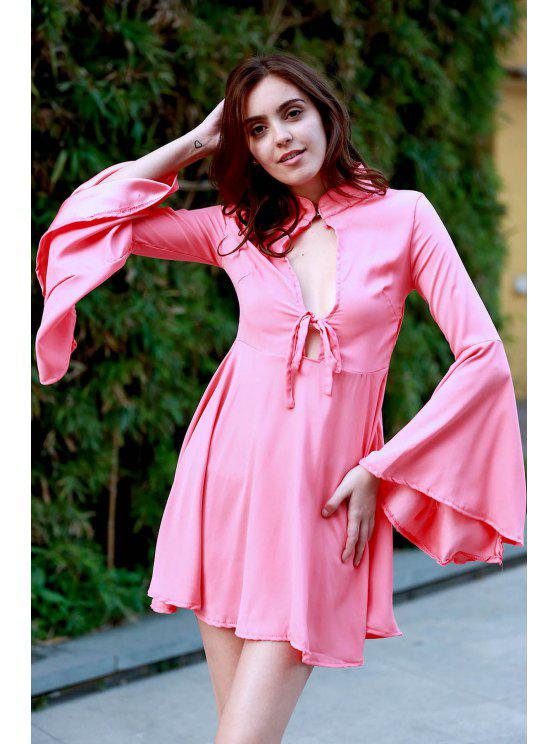 womens Hollow Out Flare Sleeve A-Line Dress - WATERMELON RED L