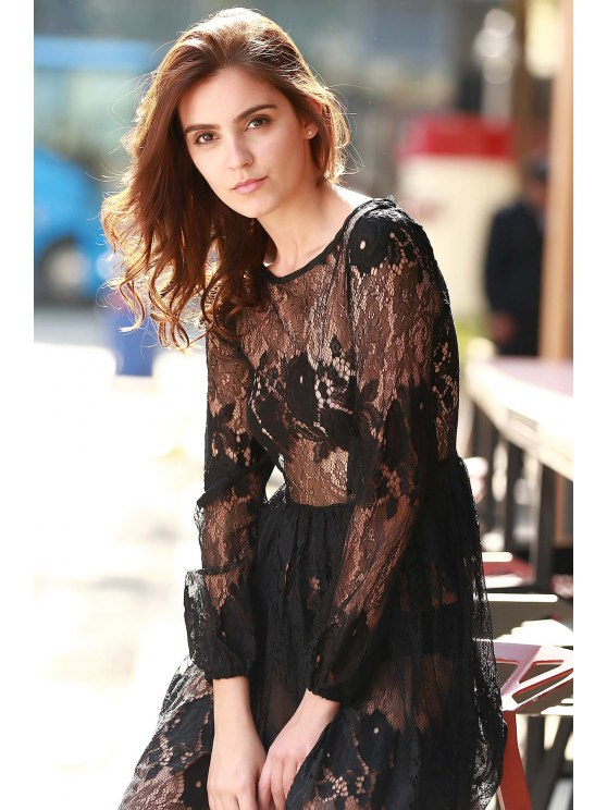 904c710c74 26% OFF  2019 See-Through Long Sleeves Lace Maxi Dress In BLACK