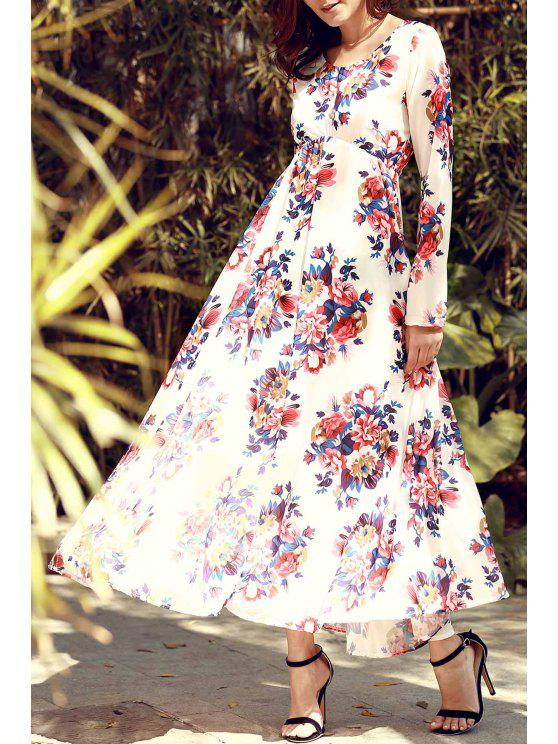 outfits Flowers Print Long Sleeve Maxi Dress - RED WITH WHITE S