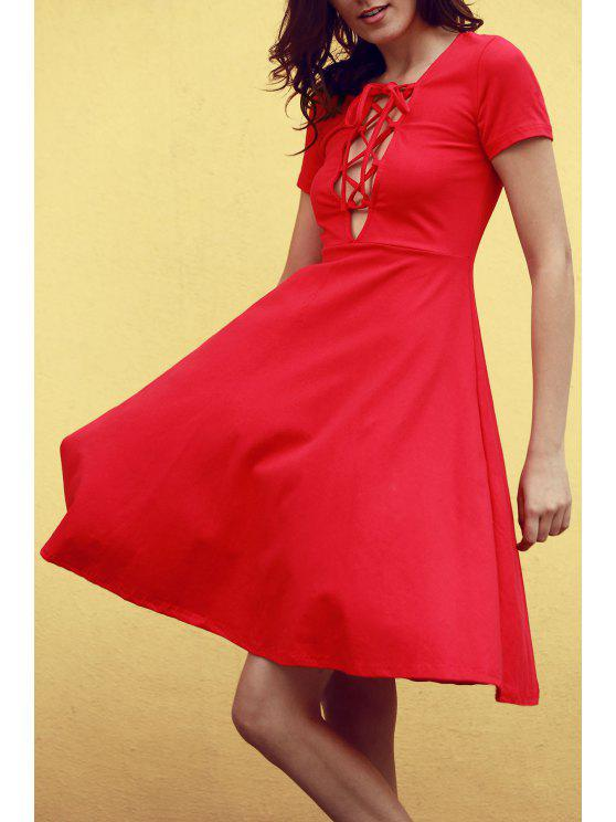 outfits Knee Length Lace Up Flared Dress - RED L