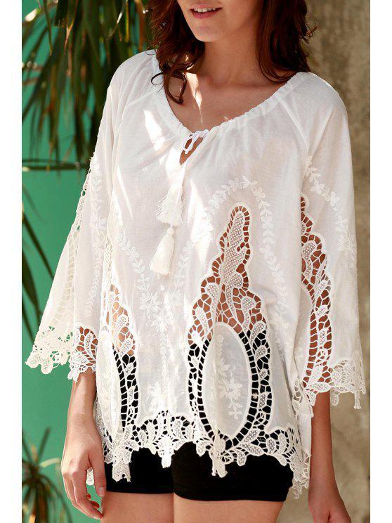 fancy Isabel Crochet Plunging Neck White Blouse - WHITE S