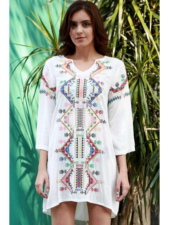 hot Smock Embroidery Dress - WHITE L
