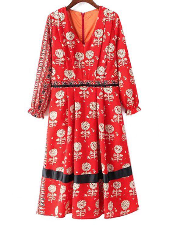 hot Dandelion Print V-Neck Long Sleeve Dress - RED M
