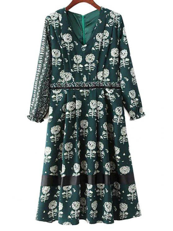 new Dandelion Print V-Neck Long Sleeve Dress - GREEN L