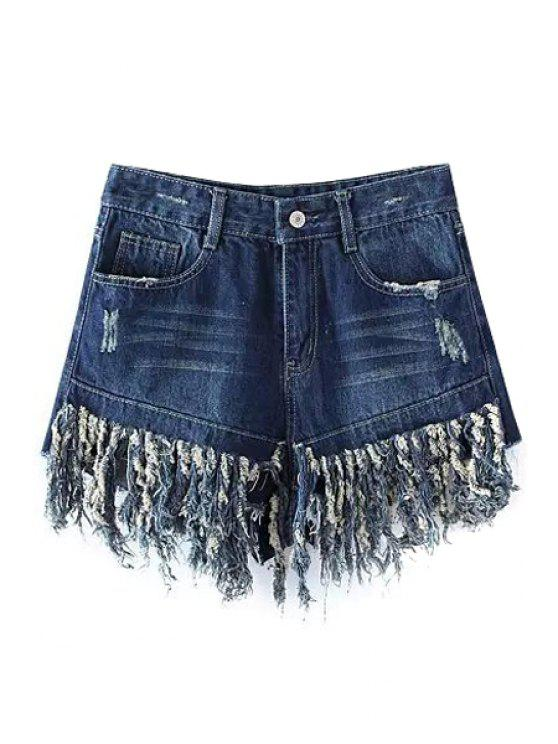 fashion Tassels Spliced High Waisted Denim Shorts - DEEP BLUE M