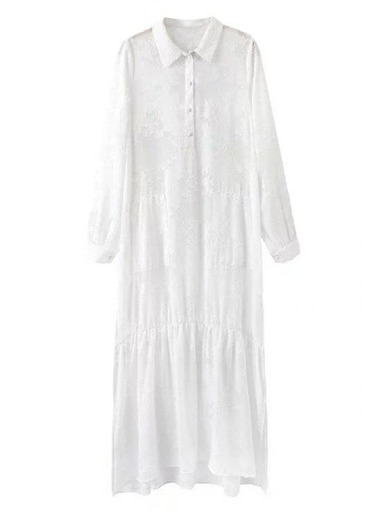 shops High Slit Shirt Collar Long Sleeve White Dress - WHITE L
