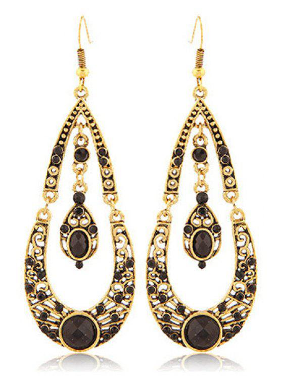new Rhinestoned Water Drop Shape Earrings - BLACK