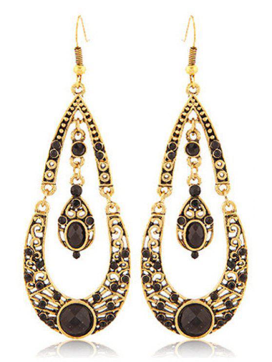 new Rhinestoned Water Drop Shape Earrings - BLACK