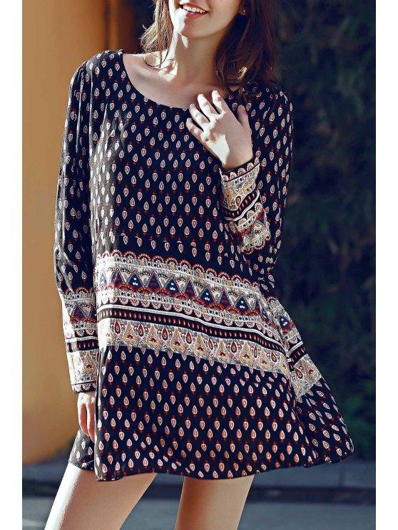 Long Sleeve floral impressão Vestido Túnica - Preto L