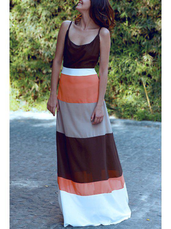 affordable Spaghetti Strap Color Block Sleeveless Maxi Dress - ORANGE S