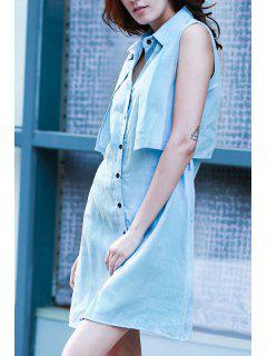 Light Blue Denim Turn Down Collar Sleeveless Dress - Light Blue L