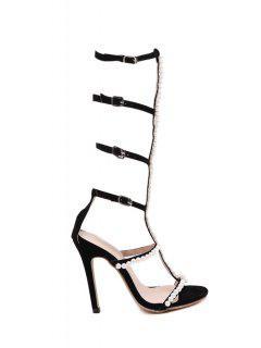Beading Buckles Stiletto Heel Sandals - Black 40