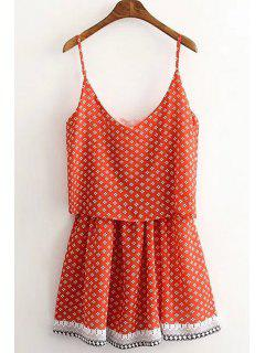 Tiny Floral Layered Cami Dress - Orange L