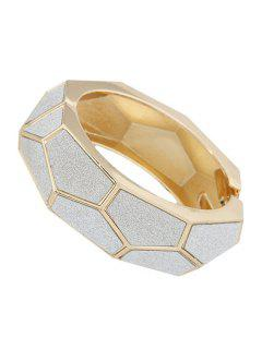 Dull Polish Polygon Cuff Bracelet - Golden