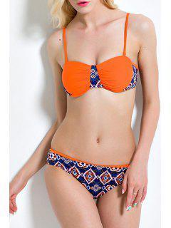 Printed Spaghetti Straps Bikini Set - Orange S
