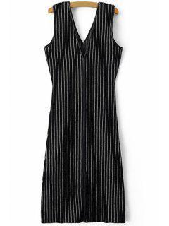 Double-V Vertical Stripes Midi Dress - Black M