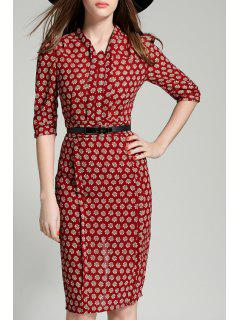 Daisy Print Stand Collar 3/4 Sleeve Dress - Dark Red L
