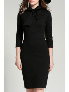 Solid Color Bowtie Collar 3/4 Sleeve Dress - Black S