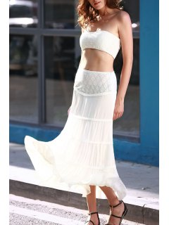 Tuve-Top And Maxi Skirt Two Piece Prom Dress - White L