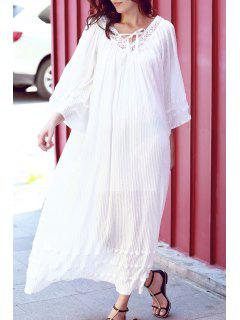 V Neck Lace Panel Smocked Kimono Dress - White M