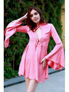 Hollow Out Flare Sleeve A-Line Dress - Watermelon Red M