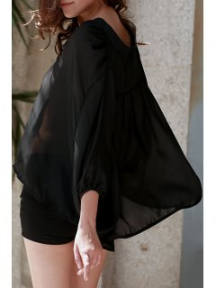 See-Through Plunging Neck Half Sleeve Blouse - Black S
