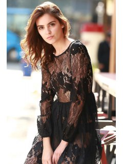 See-Through Long Sleeves Lace Maxi Dress - Black L