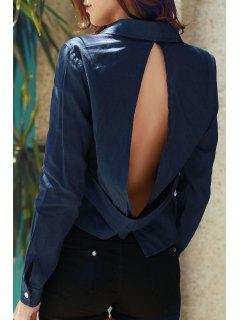 Denim Long Sleeve Hollow Back Shirt - Deep Blue M