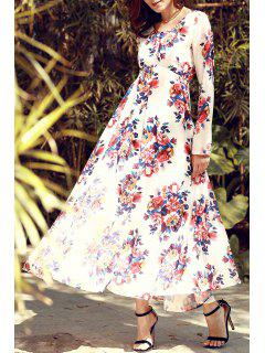 Flowers Print Long Sleeve Maxi Dress - Red With White S
