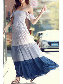 Ombre Color Spaghetti Straps Maxi Dress - Gray S