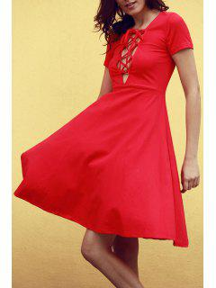 Knee Length Lace Up Flared Dress - Red M