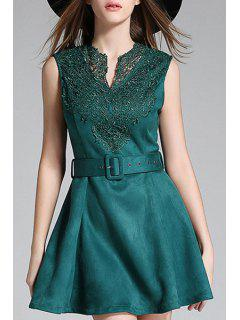 Lace Spliced V-Neck Sleeveless Suede Dress - Blackish Green Xl