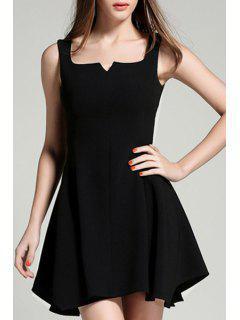 Mellado Negro Vestido De Cuello Camiseta Sin Mangas - Negro Xl