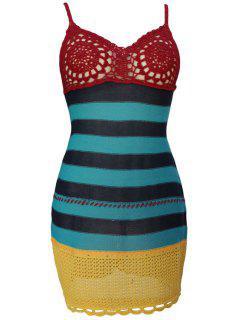Spaghetti Strap Color Block Crochet Dress