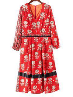 Neck V-robe à Manches Longues Dandelion Imprimer - Rouge M