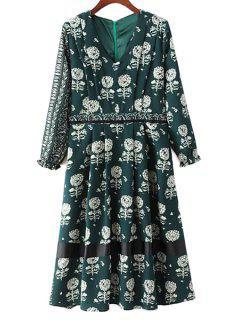 Dandelion Print V-Neck Long Sleeve Dress - Green L