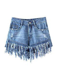 Tassels Spliced High Waisted Denim Shorts - Light Blue Xl