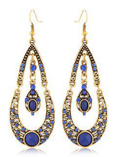 Rhinestoned Water Drop Shape Earrings - Blue