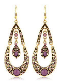 Rhinestoned Water Drop Shape Earrings - Purple